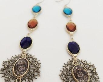 Zara Earrings - Japanese Metallic Lace & Crystal