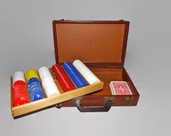 Vintage Poker Chip Set, Case, Bakelite Handle, Lift Out Tray, Card Game, Travel Case, Casino Games, Texas Hold Em, 5 Card Draw