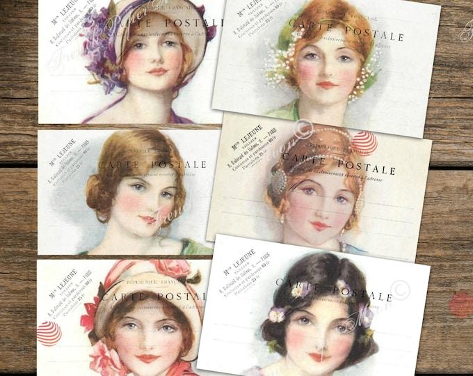 Shabby French Printed Postcard, art print, mini print set, set of 6, victorian women