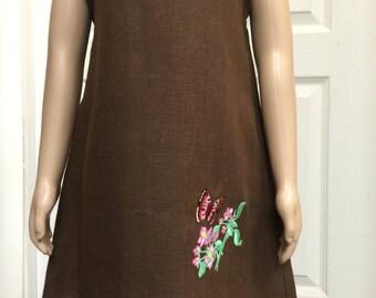 Sleeveless Dress Linen Dress Girl Dress Brown Embroidery