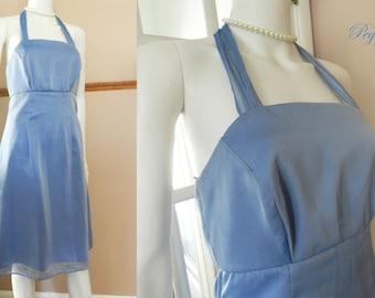 60's Blue Chiffon Satin Dress, Prom Dress, Ribbon Straps Halter Dress / Gown, Sleeveless Bridesmaid Size S Dress