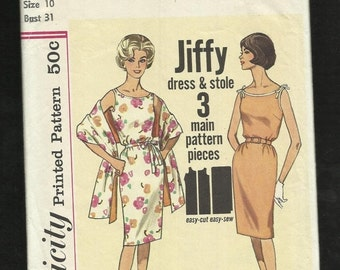 ON SALE Vintage 1960's Simplicity 4471 Jiffy Dress & Stole Make it Tonight Size 10
