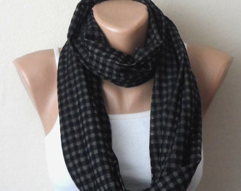 black cream infinity scarf black cream cotton loop scarf fashion scarf womens scarves circle scarf birthday gift for her