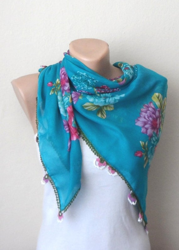 blue scarf cotton scarf turkish scarf trendy fashion by