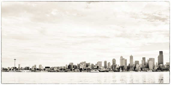 Seattle Skyline and Puget Sound. Emerald City. Pacific Northwest. Urban Photography. 10x20 Print by OneFrameStories.