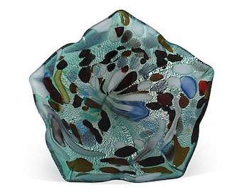 Midcentury Murano Iridescent Art Glass Bowl