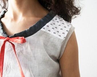 Linen shirt with vespa print detail, summer blouse, linen sleeveless top, light grey shirt, womens linen clothing, linen t-shirt