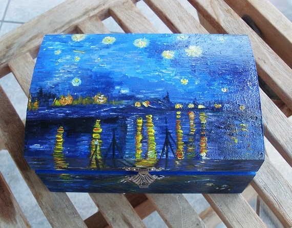 Wooden Box, Wooden Crates, Wooden Storage Boxes, Wooden Keepsake Box, Memory Box, Keepsake Box, Starry Night over the Rhone