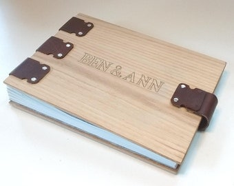 Personalized Custom Wedding Book, Album, Guest Register, with hand-carved names, closing with magnetic snaps