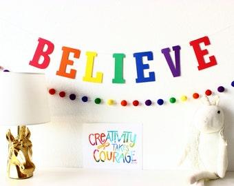 Rainbow Felt Ball Garland, Pom Pom Garland, Rainbow Birthday Party, Nursery Decor, Kids Garland, Playroom Decor, Baby Shower Decor