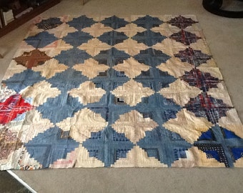 Chambray Log Cabin Quilt top
