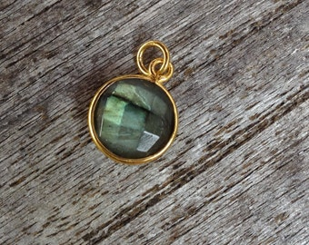 10 ea.11mm Labradorite and Vermeil Round Pendant Charm. 24k Gold Over Sterling Silver with 5mm Jump Ring Birthstone