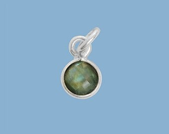 1ea. Tiny 6mm Labradorite Bezel Pendant.  Sterling Silver with 5mm Jump Ring Birthstone