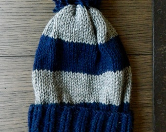 Knit Striped Pom Hat