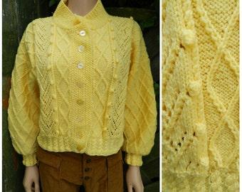70's ACRYLIC hand knitted sunny yellow bobble diamond knit cardigan M L