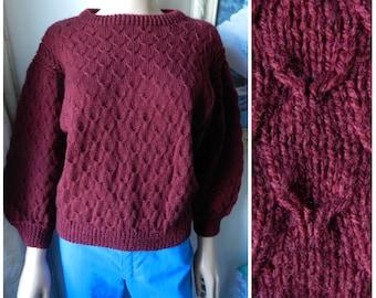 70's 80's WOOL hand knitted burgundy red jumper sweater crew neck u.k. 10 – 14 SM