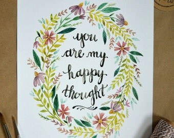 Nursery Art, Nursery Decor, Children's Art, Peter Pan Quote, Peter Pan Art, You Are My Happy Thought- 8x10