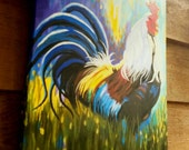 Custom order Rooster painting colorful farm art by Pamela Henry rustic kitchen wall decor cabin art