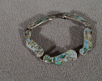 Vintage Sterling Silver Multi Inlaid Turquoise Station Line Link Tennis Style Bracelet       #706