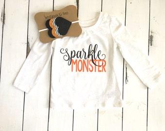 Sparkle Monster, girls halloween shirt