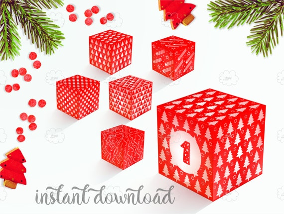 Advent Calendar, Printable Advent Boxes and Number 1-25, DIY Holiday Decoration, red white Christmas box download