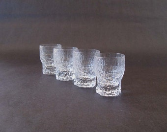 Set (4) Tapio Wirkkala Aslak Cordial / Shot / Schnapps Glasses - Iittala, Finland 1970