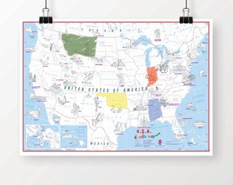 Kids Usa Map Etsy - Free color in us travel maps