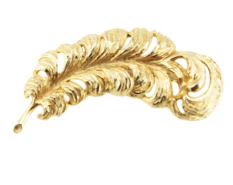 Large Gold Feather Brooch, Vintage Gold Feather Pin, Gold Quill Brooch, Gold Quill Pin
