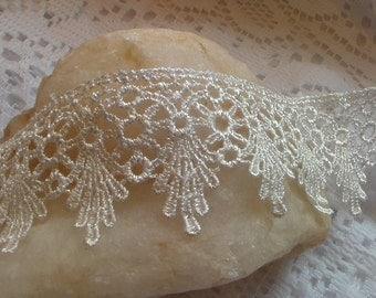 White Lace Trim Embroidery Applique, White Trim, Craft Trim, Venice Lace
