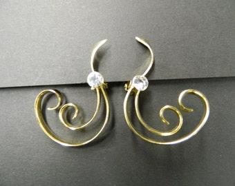 Vintage scroll clip on earrings