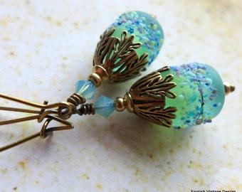 Lampwork Glass Earrings, Boho Earrings, Vintage Style Earrings, Artisan Lampwork Earrings, Antiqued Brass, Blue and Green Earrings, Dangle