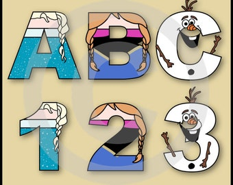 Frozen Alphabet Letters & Numbers Clip Art Graphics