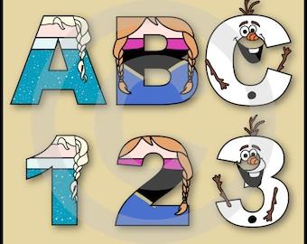 Frozen Alphabet Letters & Numbers Clip Art Graphics