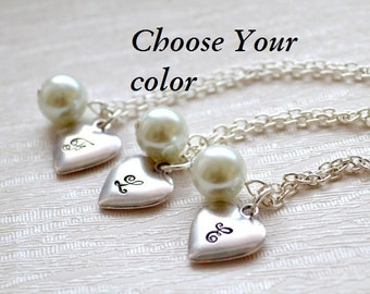 Set of three bridesmaid necklaces bridesmaids gift Personalized Necklaces Bridesmaid jewelry Set of 3 Flower girl Best Friend necklace for 3