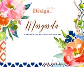The Design Kit - Margarita - Hand painted watercolour floral clipart and patterned papers