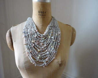Vintage Seed Bead and Abalone 45 Strand Choker Bib Necklace