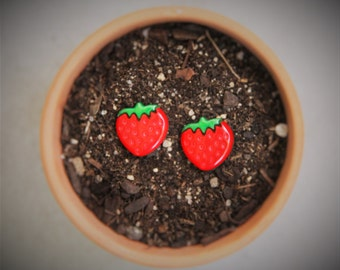 Red Strawberry Stud Earrings!