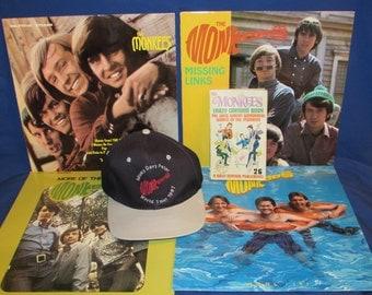 MONKEE FAN PACKAGE – 4 Monkees Albums, The Monkees Crazy Cartoon Book and Free Bonus Cap