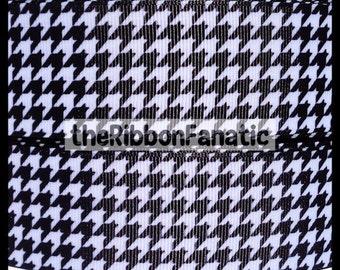 "5 yds 1.5"" Black White Houndstooth Check Alabama Roll Tide Crimson Grosgrain Ribbon"