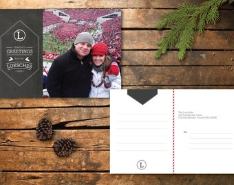 Chalkboard Holiday Photo Postcard Design