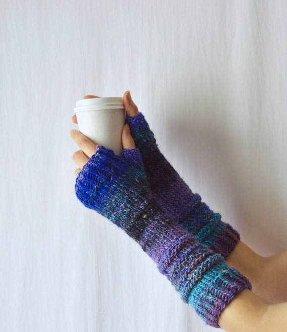 Long Arm Warmers Knitting Pattern : Knitted Blue Arm Warmers Extra Long Hand Silk Hand Warmers