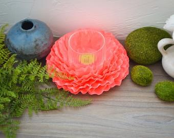 Wedding Centerpiece, Candle Holder Wedding Centerpiece, Tea Light Holder, Paper Flower, Table Decoration, Wedding Flower, Floral Centerpiece