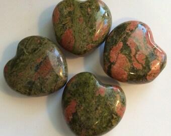Unakite Small Gemstone Puffy Heart, 30mm, Spiritual Healing Stone, Healing Stone, Healing Crystal, Chakra