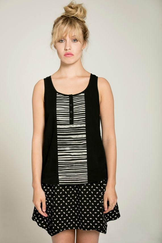 SALTY SWEET - indented top, minimalist cami, camisole  for women - black with striped silkscreen
