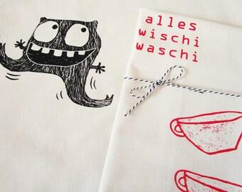 Monster, Wischi Waschi, dish cloth, organic cotton. Screen printed by hand.