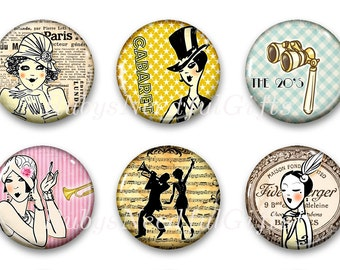 Flapper Magnets,  Button Magnets,  Fridge Magnets, Magnets, 1 1/4 inch, Best friends gift, Hostess Gift, Art Deco Magnets, SET OF 6.