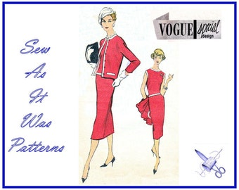 1950s FF Unused Vogue Special Design S-4860 Suit Dress Sleeveless Top Pencil Skirt Collarless Jacket Vintage Sewing Pattern Size 16 Bust 36
