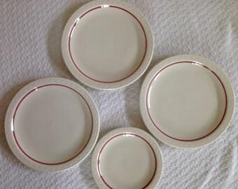 Syracuse China Cardinal Lines Plates - Set of 4