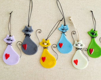 Fused Glass Cat Lover Ornaments - Various Colors Available