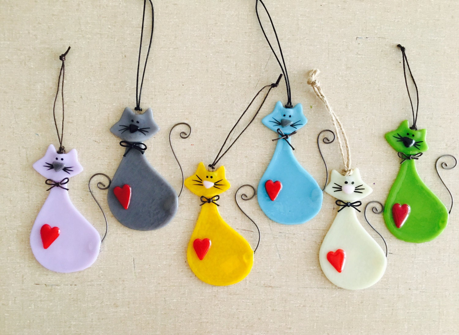 Glass cat ornaments - Fused Glass Cat Lover Ornaments Various Colors Available